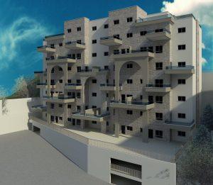 הדמייה פרונטלית של בניין מגורים